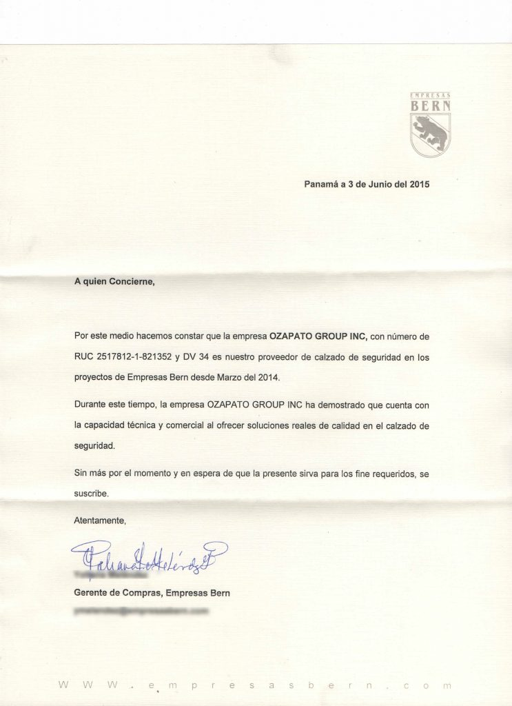 Carta De Referencia Empresas Bern Ozapato 1 Ozapato Panama