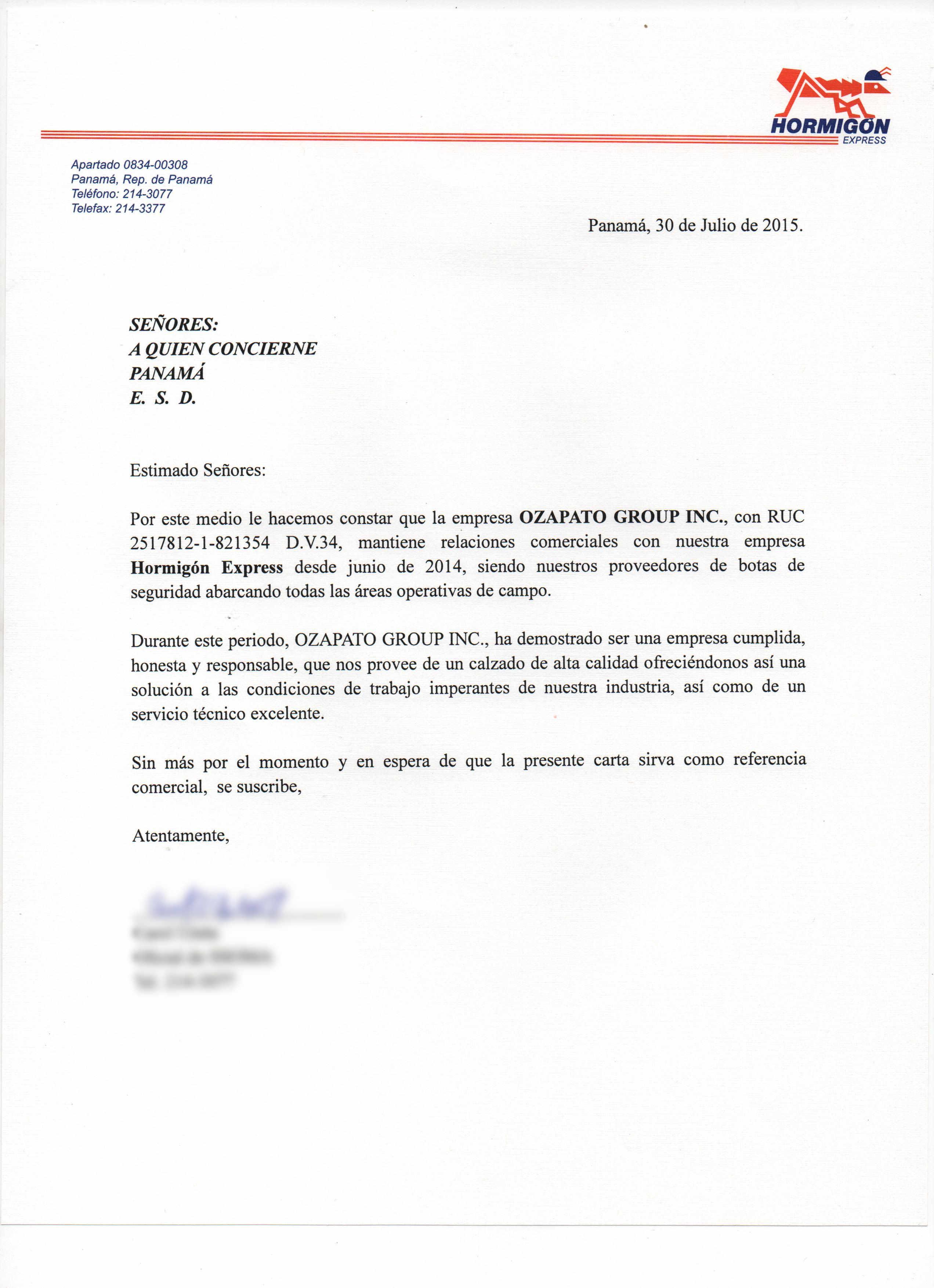 carta de referencia hormig u00f3n express